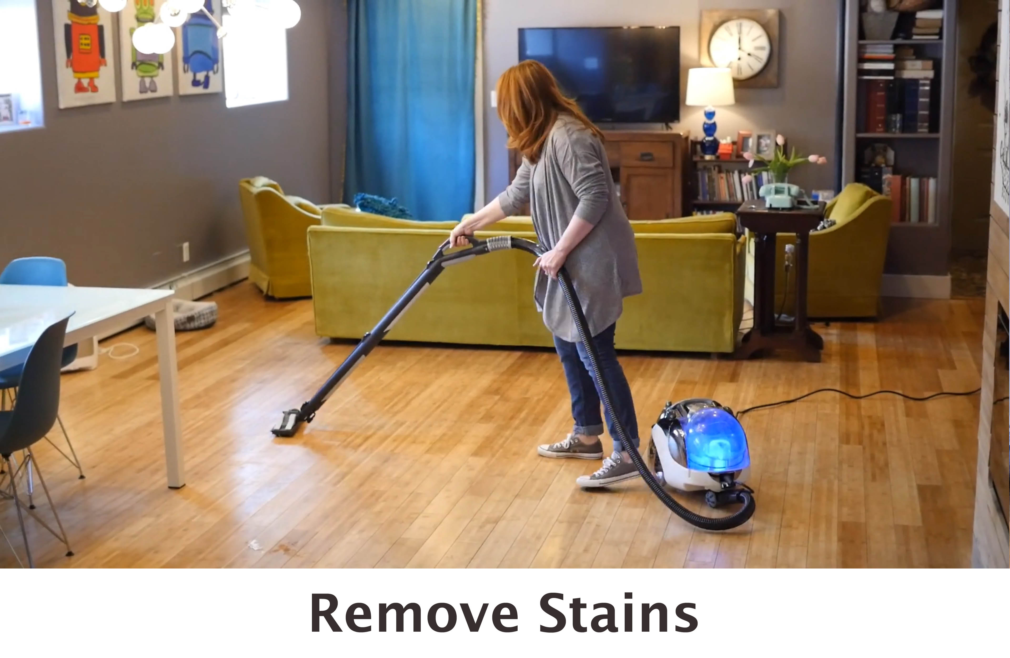 woman using Steam Rover on bamboo wood floors